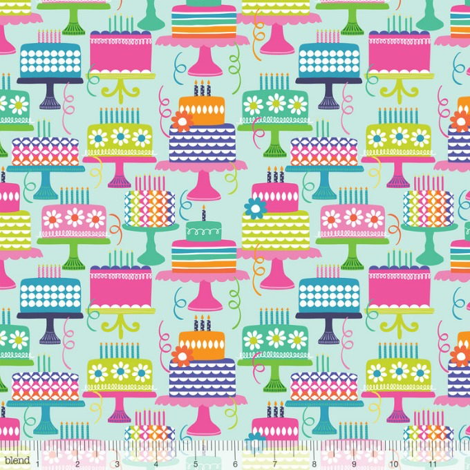 Maude Asbury Hip Hip Hooray, Piece of Cake in Aqua, Fabric Half-Yards 101.145.03.1 Birthday