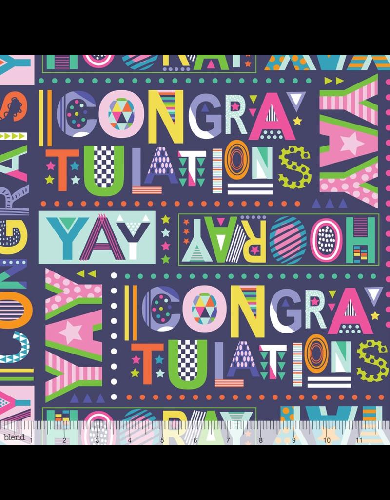Maude Asbury Hip Hip Hooray, Best Wishes in Navy, Fabric Half-Yards 101.145.01.1 Birthday