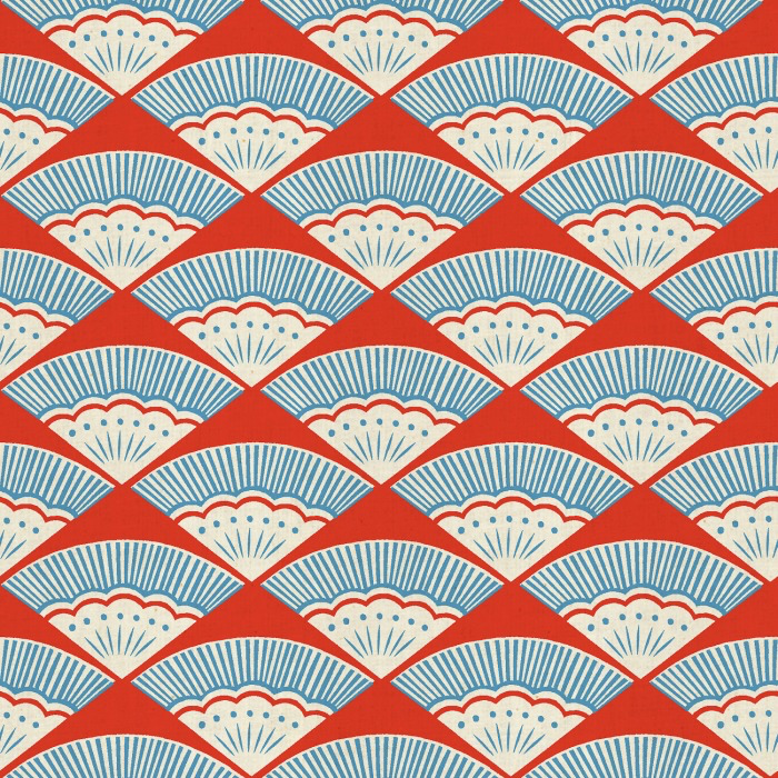 PD's Cotton + Steel Collection Kibori, Ougi in Red on Unbleached Cotton, Dinner Napkin