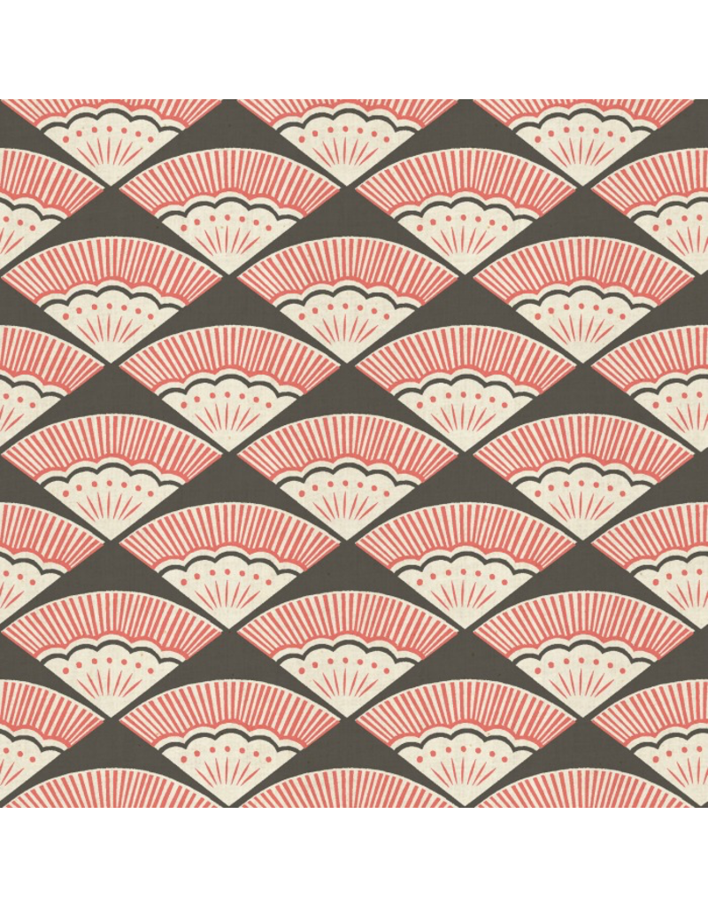PD's Cotton + Steel Collection Kibori, Ougi in Coral on Unbleached Cotton, Dinner Napkin