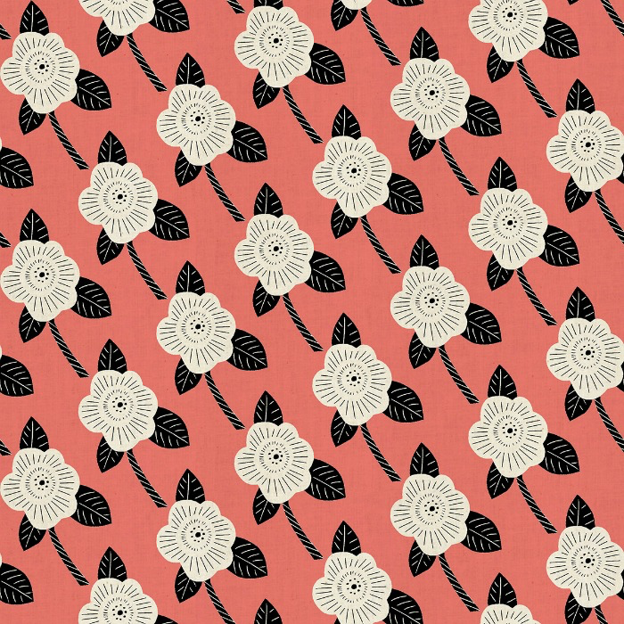 PD's Cotton + Steel Collection Kibori, Chico in Coral on Unbleached Cotton, Dinner Napkin