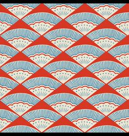 Cotton + Steel Kibori, Ougi in Red on Unbleached Cotton, Fabric Half-Yards CF103-RE2U