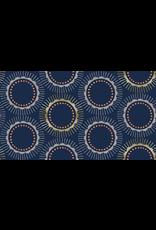 Cotton + Steel Kibori, Tara in Navy with Metallic, Fabric Half-Yards CF104-NA2M