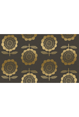 Cotton + Steel Linen/Cotton Canvas, Kibori, Peko in Charcoal with Metallic, Fabric Half-Yards CF100-CH5CM