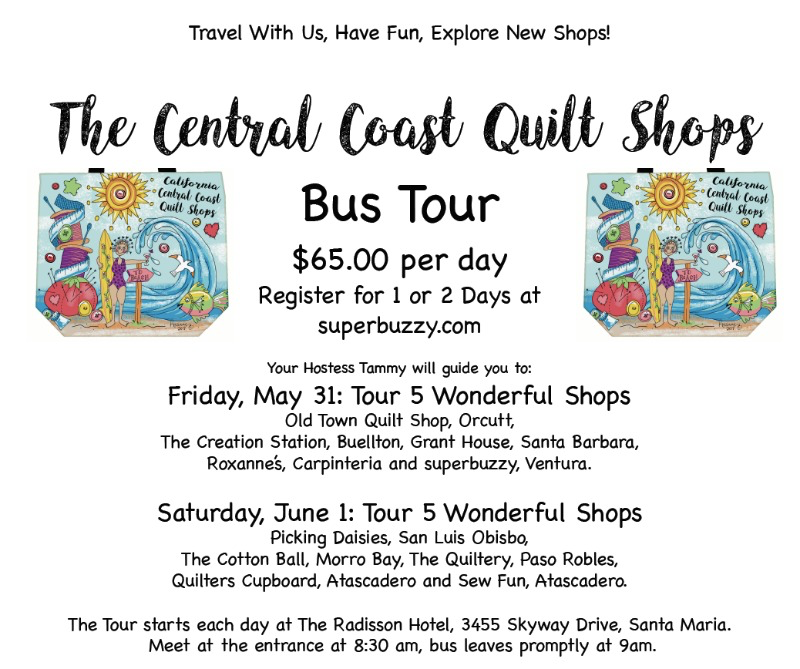 Picking Daisies Information about the Bus Tour for the 2019 Central Coast Quilt Shop Tour