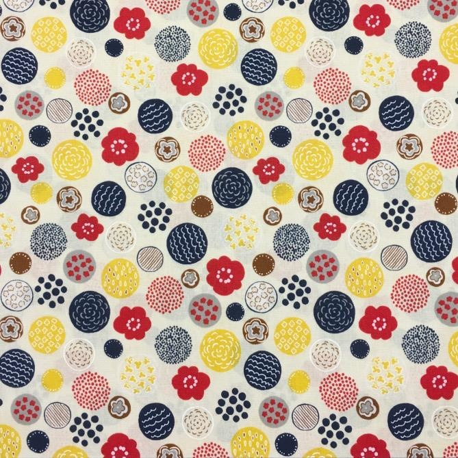 Cosmo, Japan Cosmo Japan, Floral Circles in Cream, Fabric Half-Yards AP85203-1-A