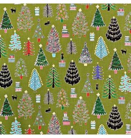 Cosmo, Japan Cosmo Japan, Christmas Trees in Green, Fabric Half-Yards AP85802-1