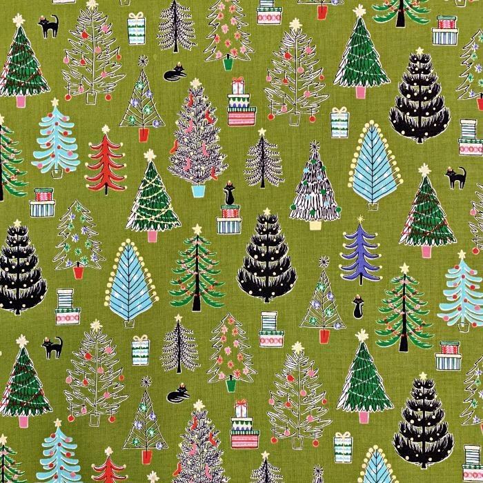 Cosmo, Japan Cosmo Japan, Christmas Trees in Green, Fabric Half-Yards AP85802-1