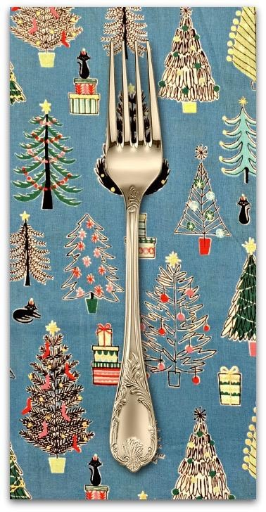 Christmas Collection Cosmo Japan, Christmas Trees in Blue, Dinner Napkin