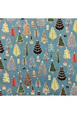 Cosmo, Japan Cosmo Japan, Christmas Trees in Blue, Fabric Half-Yards AP85802-1