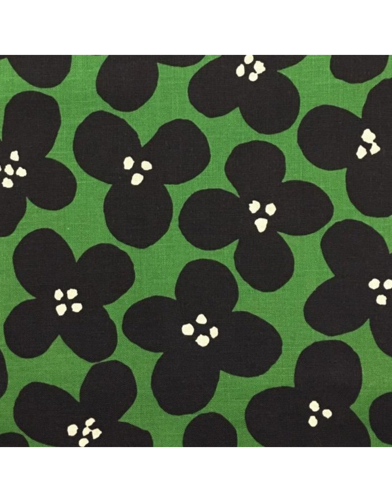 Japan Import Canvas, Kokka Japan, Pop Flowers in Green, Fabric Half-Yards YK-56080-1