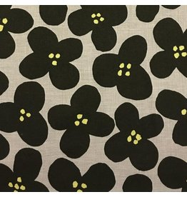 Kokka, Japan Canvas, Kokka Japan, Pop Flowers in Taupe, Fabric Half-Yards YK-56080-1