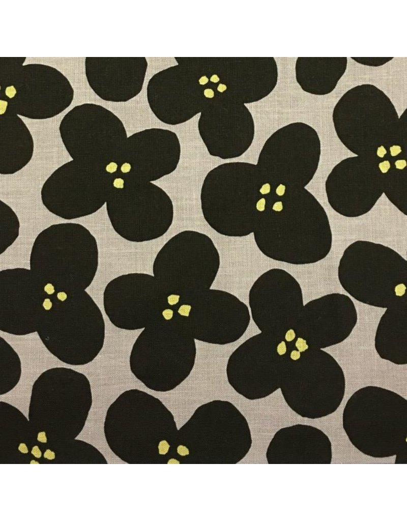 DAISY TAUPE PRINTED Cotton POPLIN Dressmaking Fabric Material