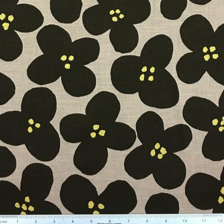 Japan Import Canvas, Kokka Japan, Pop Flowers in Taupe, Fabric Half-Yards YK-56080-1