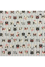 Cosmo, Japan Linen/Cotton Canvas, Cosmo Japan, Dogs in Blue Stripe, Fabric Half-Yards AP85409-1-E
