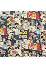 Cosmo, Japan Linen/Cotton Canvas, Cosmo Japan, Fighting Heros in Comic Multi, Fabric Half-Yards AP85807-1-B