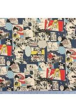 Japan Import Linen/Cotton Canvas, Cosmo Japan, Fighting Heros in Comic Multi, Fabric Half-Yards AP85807-1-B