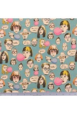 Cosmo, Japan Linen/Cotton Canvas, Cosmo Japan, Faces in Blue, Fabric Half-Yards AP85807-2-F