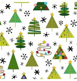 Andover Fabrics Holiday Tweets, Trees in White, Fabric Half-Yards A-129-X