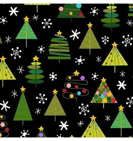 Andover Fabrics Holiday Tweets, Trees in Black, Fabric Half-Yards A-129-K