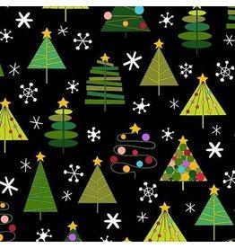Andover Fabrics Holiday Tweets, Trees in Black, Fabric Half-Yards A-129-K