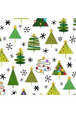Christmas Collection Holiday Tweets, Trees in White, Dinner Napkin