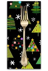 Christmas Collection Holiday Tweets, Trees in Black, Dinner Napkin
