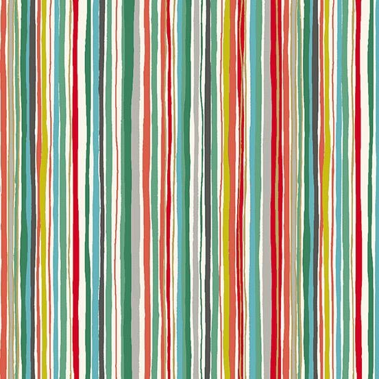 Christmas Collection Merry, Wavy Stripe in Multi, Dinner Napkin