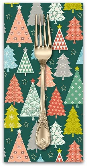 Christmas Collection Merry, Trees in Green, Dinner Napkin