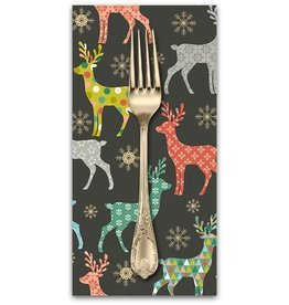 Christmas Collection Merry, Reindeer in Silver, Dinner Napkin