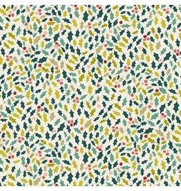 Andover Fabrics Merry, Holly in Eggshell, Fabric Half-Yards TP-2114-1
