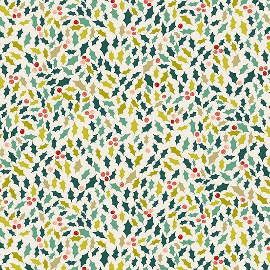 Andover Fabrics Merry, Holly in Eggshell, Fabric Half-Yards TP-2114-1