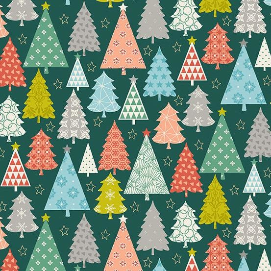Andover Fabrics Merry, Trees in Green, Fabric Half-Yards TP-2112-1