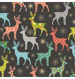 Andover Fabrics Merry, Reindeer in Silver, Fabric Half-Yards TP-2111-1