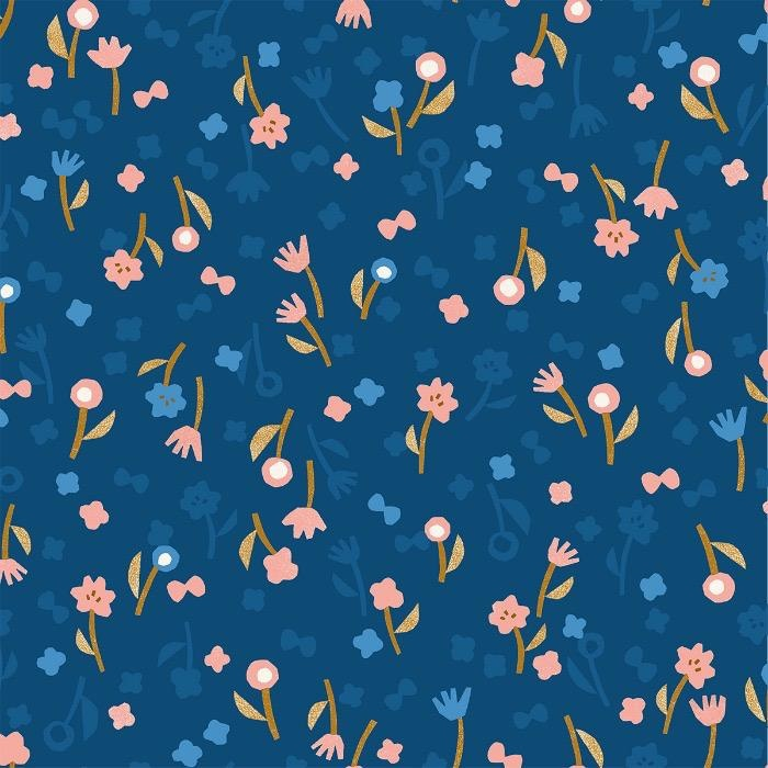 Cotton + Steel Rayon, Neko and Tori, Flower Picking in Blue, Fabric Half-Yards IN103-BL4R