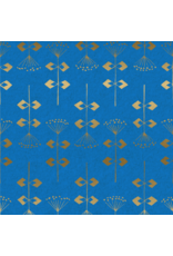 Cotton + Steel ON SALE-Linen/Cotton Canvas, Neko and Tori, Penpengusa in Blue with Metallic, Fabric full-Yards IN104-BL4CM