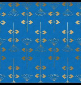 Cotton + Steel Linen/Cotton Canvas, Neko and Tori, Penpengusa in Blue with Metallic, Fabric Half-Yards IN104-BL4CM