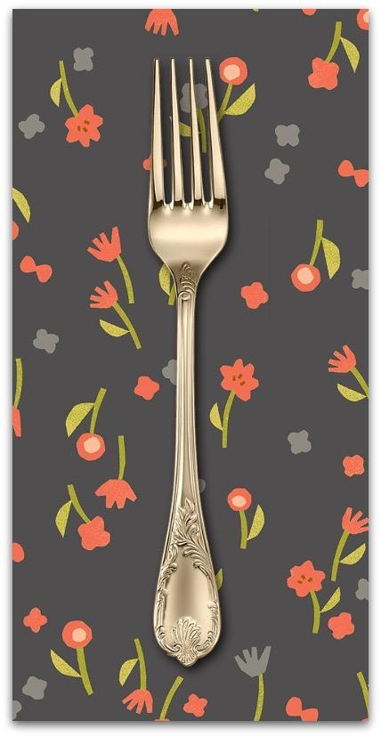 PD's Cotton + Steel Collection Neko and Tori, Flower Picking in Charcoal, Dinner Napkin