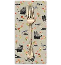 PD's Cotton + Steel Collection Neko and Tori, Nombiri in Grey on Unbleached Cotton, Dinner Napkin