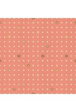 Cotton + Steel Neko and Tori, Ohanadotto in Coral on Unbleached Cotton with Metallic, Fabric Half-Yards IN105-CO3UM
