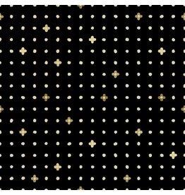 Cotton + Steel Neko and Tori, Ohanadotto in Black with Metallic, Fabric Half-Yards IN105-BK2M