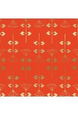 Cotton + Steel Neko and Tori, Penpengusa in Tomato with Metallic, Fabric Half-Yards IN104-TO3M