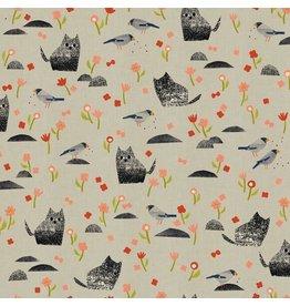 Cotton + Steel Neko and Tori, Nombiri in Grey on Unbleached Cotton, Fabric Half-Yards IN100-GY2U