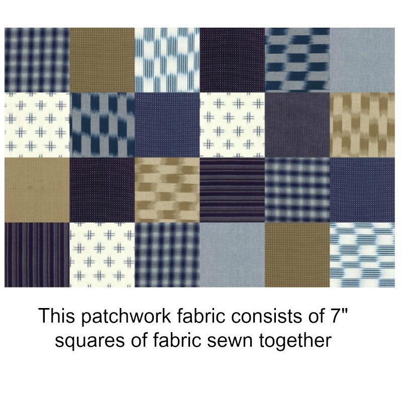 "Moda Boro, Patchwork in Indigo Flax, Fabric Yard (35"") 12560 41"