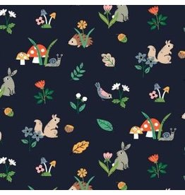 Dear Stella May The Forest Be With You, Woodland Creatures in Navy, Fabric Half-Yards STELLA-1255