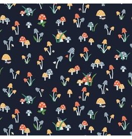Dear Stella May The Forest Be With You, Mushrooms in Navy, Fabric Half-Yards STELLA-1256