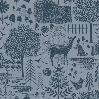 Dear Stella May The Forest Be With You, Moonlit Forest in Slate, Fabric Half-Yards STELLA-1254