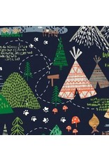 Dear Stella May The Forest Be With You, Camp in Navy, Fabric Half-Yards STELLA-1252