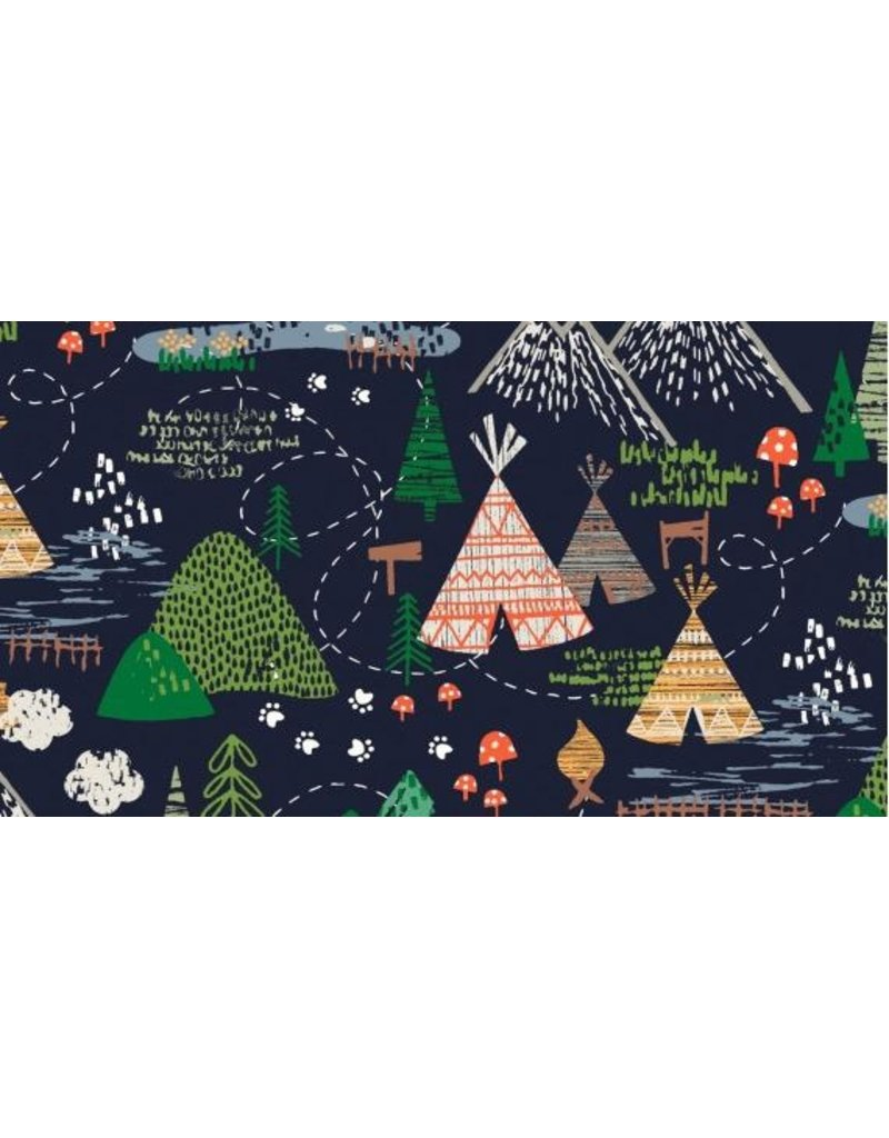 Dear Stella May The Forest Be With You, Camp in Navy, Fabric STELLA-1252 ONE .75 YARD CUT REMAINING