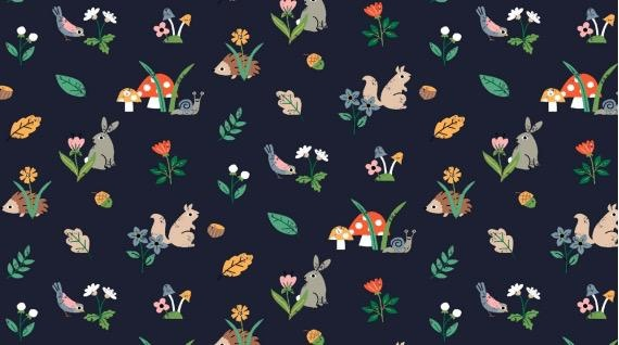 PD's Dear Stella Collection May the Forest Be With You, Woodland Creatures in Navy, Dinner Napkin